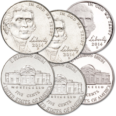 Image for 2014 PDS Jefferson Nickel Set (3 coins) from Littleton Coin Company