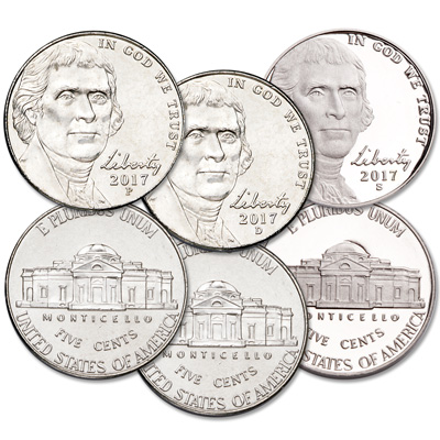 Image for 2017 PDS Jefferson Nickel Set from Littleton Coin Company