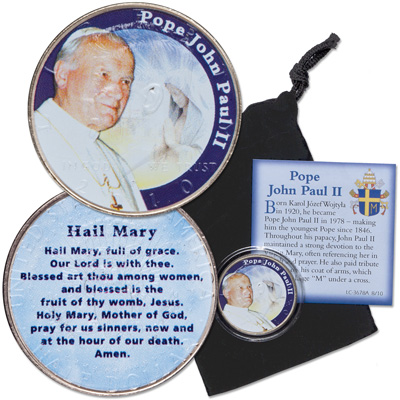Image for Colorized Kennedy Half Dollar Hail Mary Pope John Paul II with Pouch from Littleton Coin Company