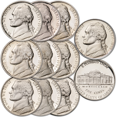 Image for 1990-1999 Complete Jefferson Nickel Decade Set (10 coins) from Littleton Coin Company