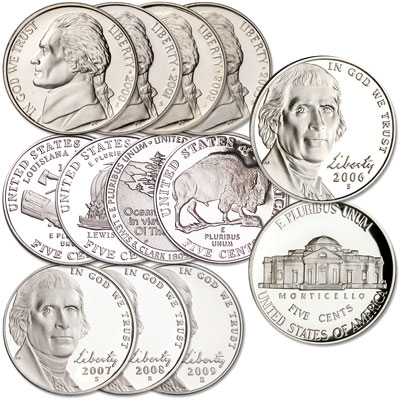 Image for 2000-2009 Complete Jefferson Nickel Decade Set (12 coins) from Littleton Coin Company