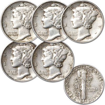 Image for 1941-1945 Mercury Silver Dime Year Set, Extra Fine from Littleton Coin Company
