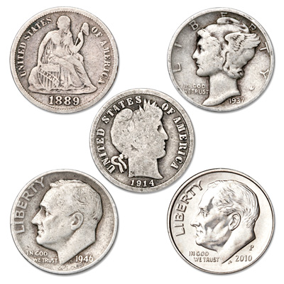 Image for 1837-2014 U.S. Dime Type Set from Littleton Coin Company
