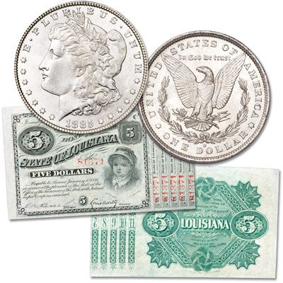 Image for 1880's State of LA Bond & 1885-O Morgan Dollar from Littleton Coin Company
