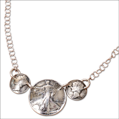 Image for Mercury Dime & Liberty Walking Half Dollar Necklace from Littleton Coin Company