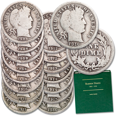 Image for 20th Century Barber Dime Collection with Album from Littleton Coin Company
