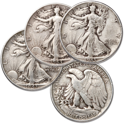 Image for 1943-1945 Liberty Walking Half Dollar Set (3 coins) from Littleton Coin Company