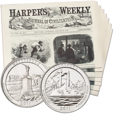 Image for Harper's Weekly - Great Moments of the Civil War - 7 Issues Plus 2 Quarters from Littleton Coin Company