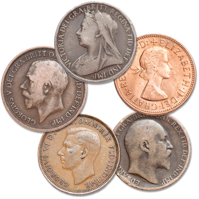 Image for 1895-1967 British Large Penny Set (5 coins) from Littleton Coin Company