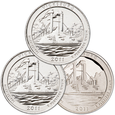 Image for 2011 PDS Vicksburg Quarter Set (3 coins) from Littleton Coin Company