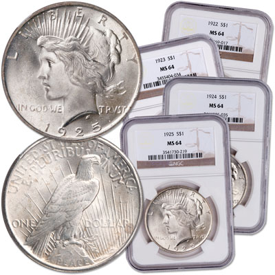 Image for 1922-1925 Peace Dollar Year Set (4 coins) from Littleton Coin Company