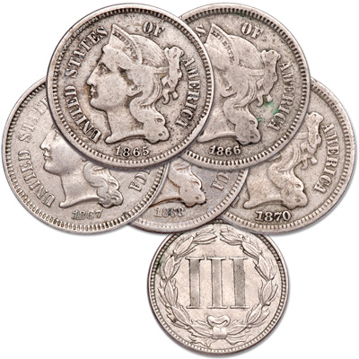 Image for 1865-1870 Nickel 3¢ Piece Set (5 coins) from Littleton Coin Company