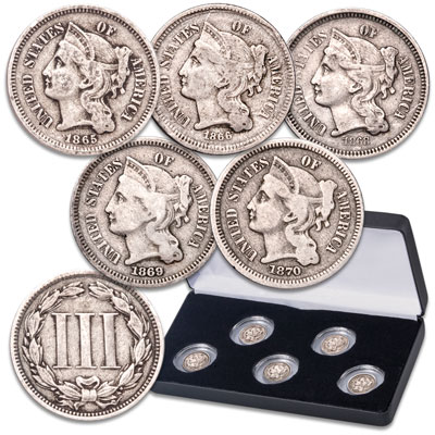 Image for 1865-1870 Nickel 3 Cent Piece Set from Littleton Coin Company