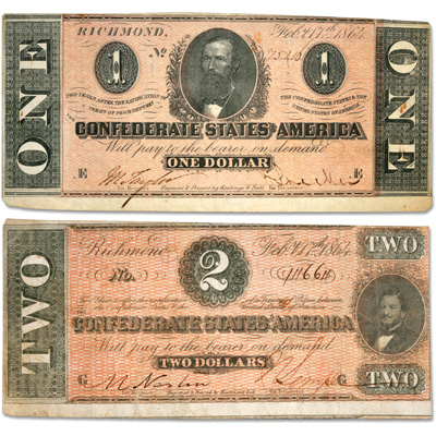 Image for 1864 $1 & $2 Confederate Note Set from Littleton Coin Company