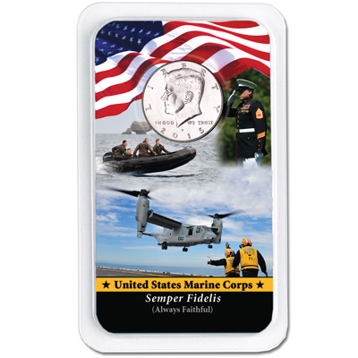 Image for 2015 Kennedy Half Dollar in U.S. Marines Showpak from Littleton Coin Company
