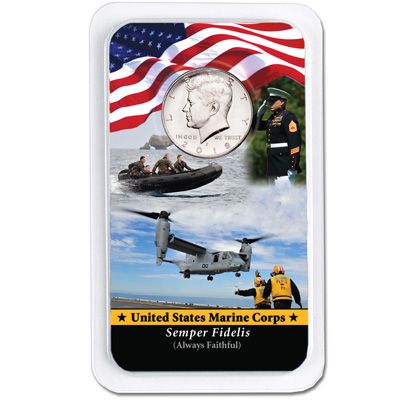 Image for 2018 Kennedy Half Dollar in U.S. Marines Showpak from Littleton Coin Company