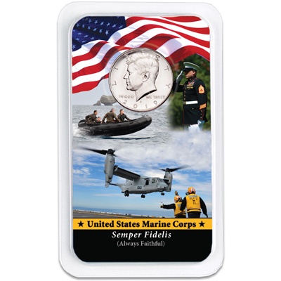 Image for 2019 Kennedy Half Dollar in U.S. Marines Showpak from Littleton Coin Company