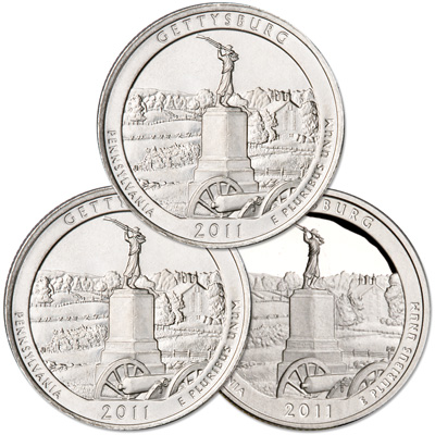 Image for 2011 PDS Gettysburg Quarter Set (3 coins) from Littleton Coin Company