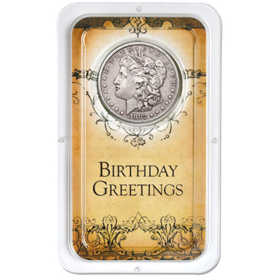 Image for Morgan Dollar in Happy Birthday Showpak from Littleton Coin Company
