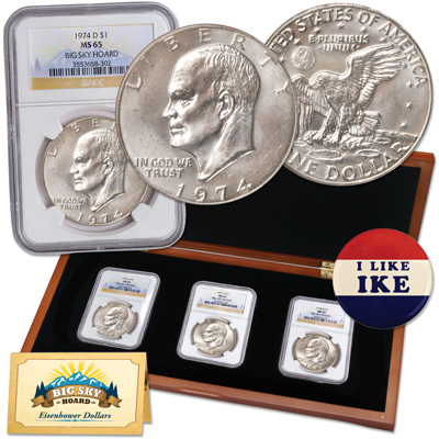 Image for 1974-D–1978-D Eagle Reverse Eisenhower Dollar Set, Big Sky Hoard, with Button from Littleton Coin Company