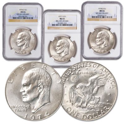 Image for 1974-D-1978-D Eagle Reverse Eisenhower Dollar Set from Littleton Coin Company