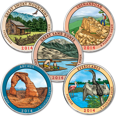 Image for 2014 Colorized National Park Quarter Year Set from Littleton Coin Company