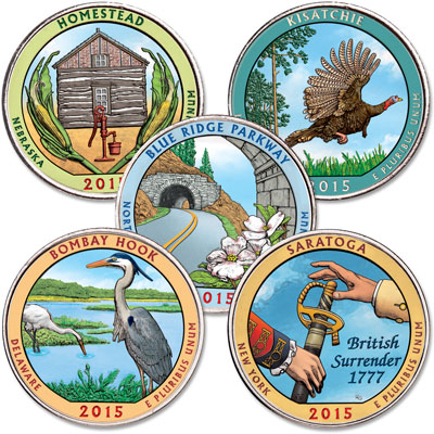 Image for 2015 Colorized National Park Quarter Year Set from Littleton Coin Company