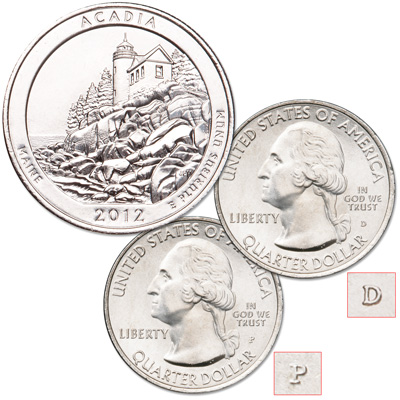 Image for 2012 P&D Acadia National Park Quarter Set from Littleton Coin Company