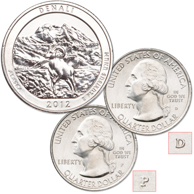Image for 2012 P&D Denali National Park & Preserve Quarter Set from Littleton Coin Company