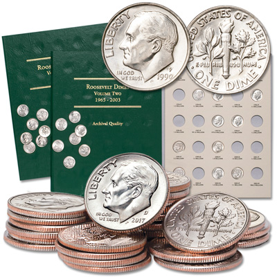 Image for 1993-2017 Roosevelt Dime Set with Two Folders from Littleton Coin Company