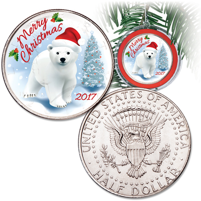 Image for 2017 Colorized Christmas Coin Ornament from Littleton Coin Company
