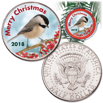 Image for 2018 Colorized Christmas Coin Ornament from Littleton Coin Company