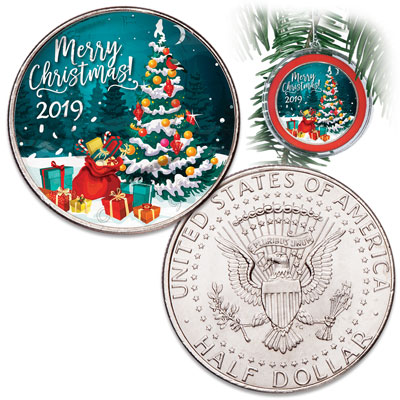 Image for 2019 Colorized Kennedy Half Dollar Merry Christmas Ornament from Littleton Coin Company