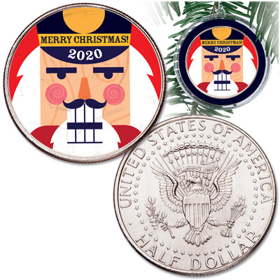 Image for 2020 Colorized Kennedy Half Dollar Nutcracker Ornament from Littleton Coin Company