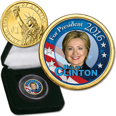 Image for 2016 Colorized Candidate Presidential Dollar - Hillary Clinton from Littleton Coin Company