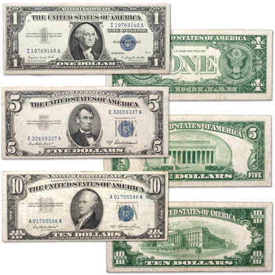 Image for 1950s Small-Size Silver Certificate Denomination Set ($1, $5, $10) from Littleton Coin Company