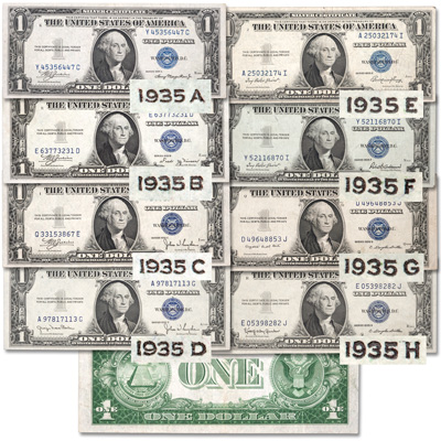 Image for 1935A-1935H $1 Silver Certificate Set (8 notes) from Littleton Coin Company