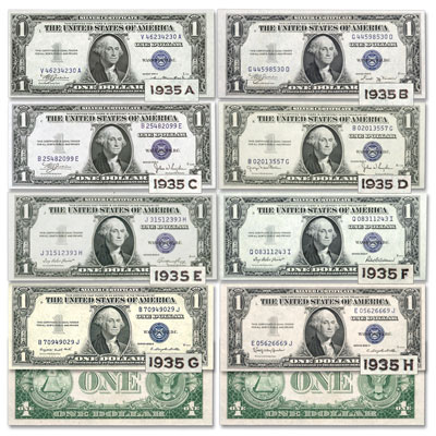 Image for 1935A-1935H $1 Silver Certificate Set from Littleton Coin Company