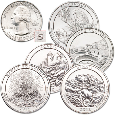 Image for 2012-S Unc. National Park Quarter Year Set from Littleton Coin Company