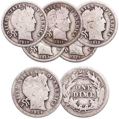 Image for 1910-1914 Barber Silver Dime Set from Littleton Coin Company
