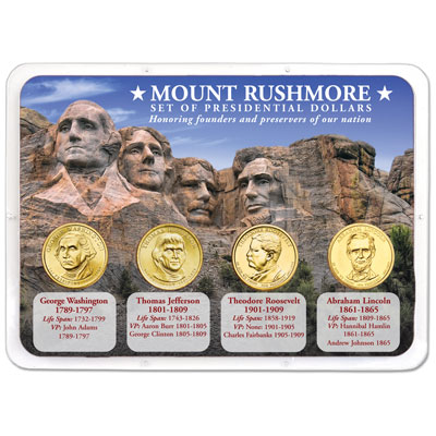 Image for Mount Rushmore Presidential Dollar Showpak from Littleton Coin Company