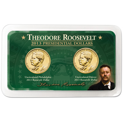 Image for 2013 P&D Theodore Roosevelt Presidential Dollar Showpak from Littleton Coin Company