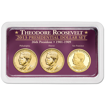 Image for 2013 Theodore Roosevelt Presidential Dollar in Exclusive PDS Showpak from Littleton Coin Company