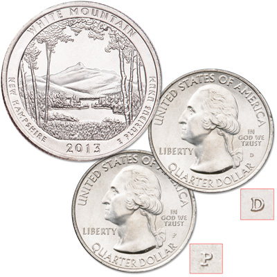 Image for 2013 P&D White Mountain National Forest Quarter Set from Littleton Coin Company