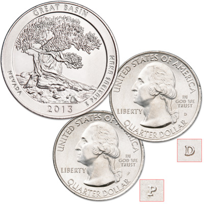 Image for 2013 P&D Great Basin National Park Quarter Set from Littleton Coin Company