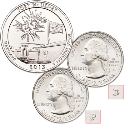 Image for 2013 P&D Fort McHenry National Monument and Historic Shrine Quarter Set from Littleton Coin Company