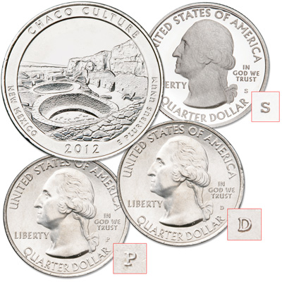 Image for 2012 PDS Chaco Culture National Historical Park Quarters from Littleton Coin Company