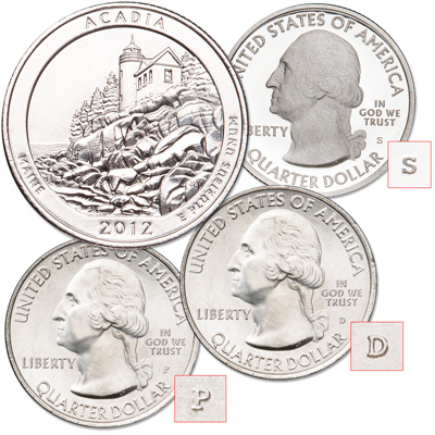 Image for 2012 PDS Acadia National Park Quarters from Littleton Coin Company