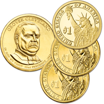Image for 2012 PDS Grover Cleveland (Term 1) Presidential Dollar Set (3 coins) from Littleton Coin Company
