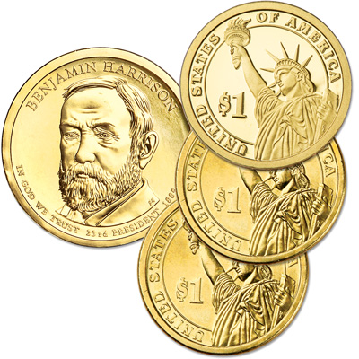 Image for 2012 PDS Benjamin Harrison Presidential Dollar Set (3 coins) from Littleton Coin Company